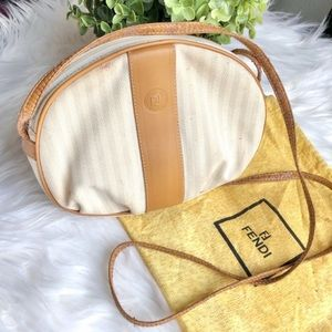 FENDI AUTHENTIC Vintage White Pequin Purse Bag